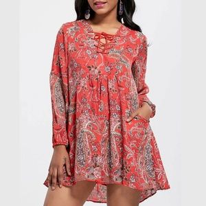 NWT Red Lace-Up Floral Crochet Mini Dress M